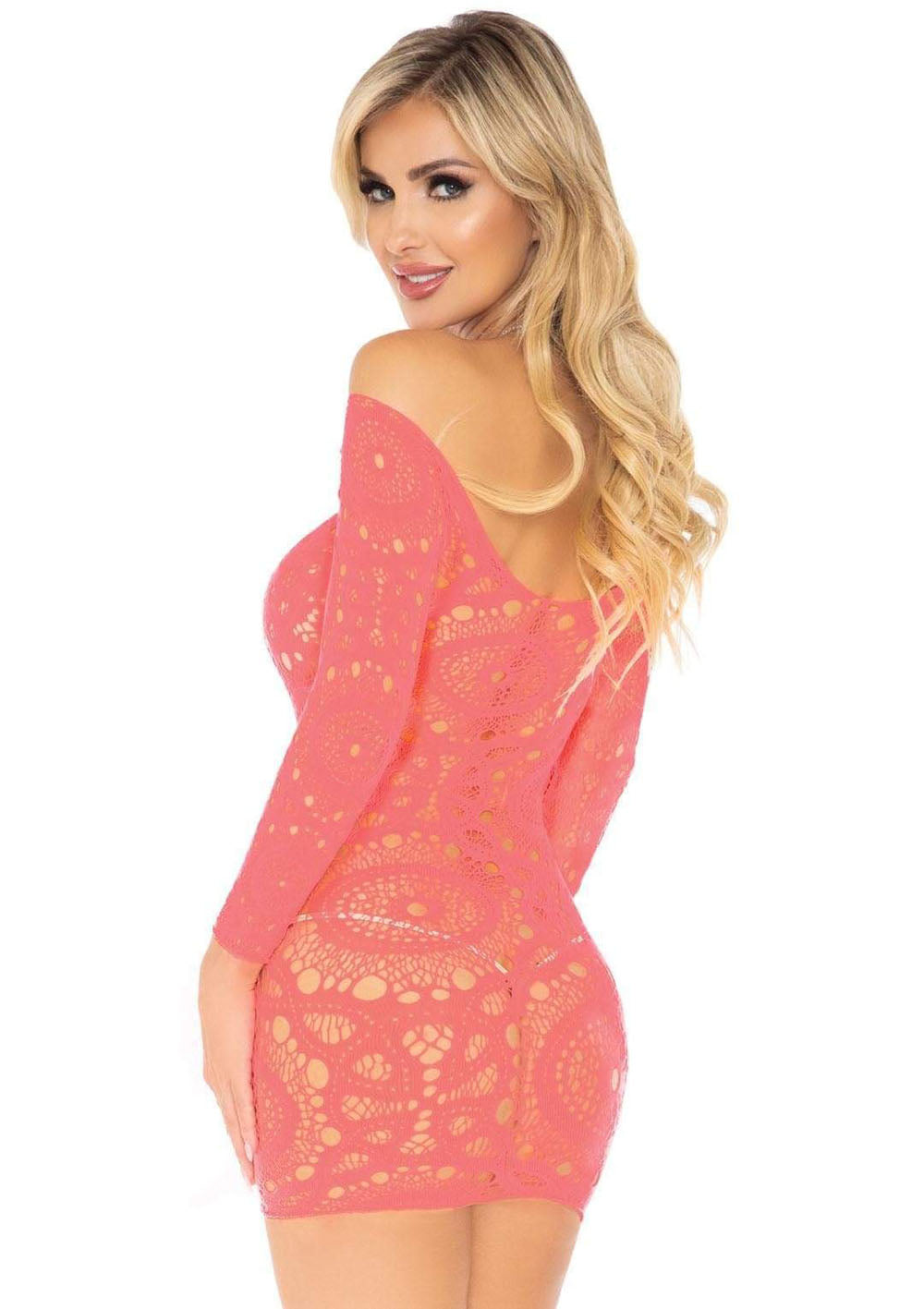 Crochet Lace Long Sleeve Mini Dress - Coral - One Size