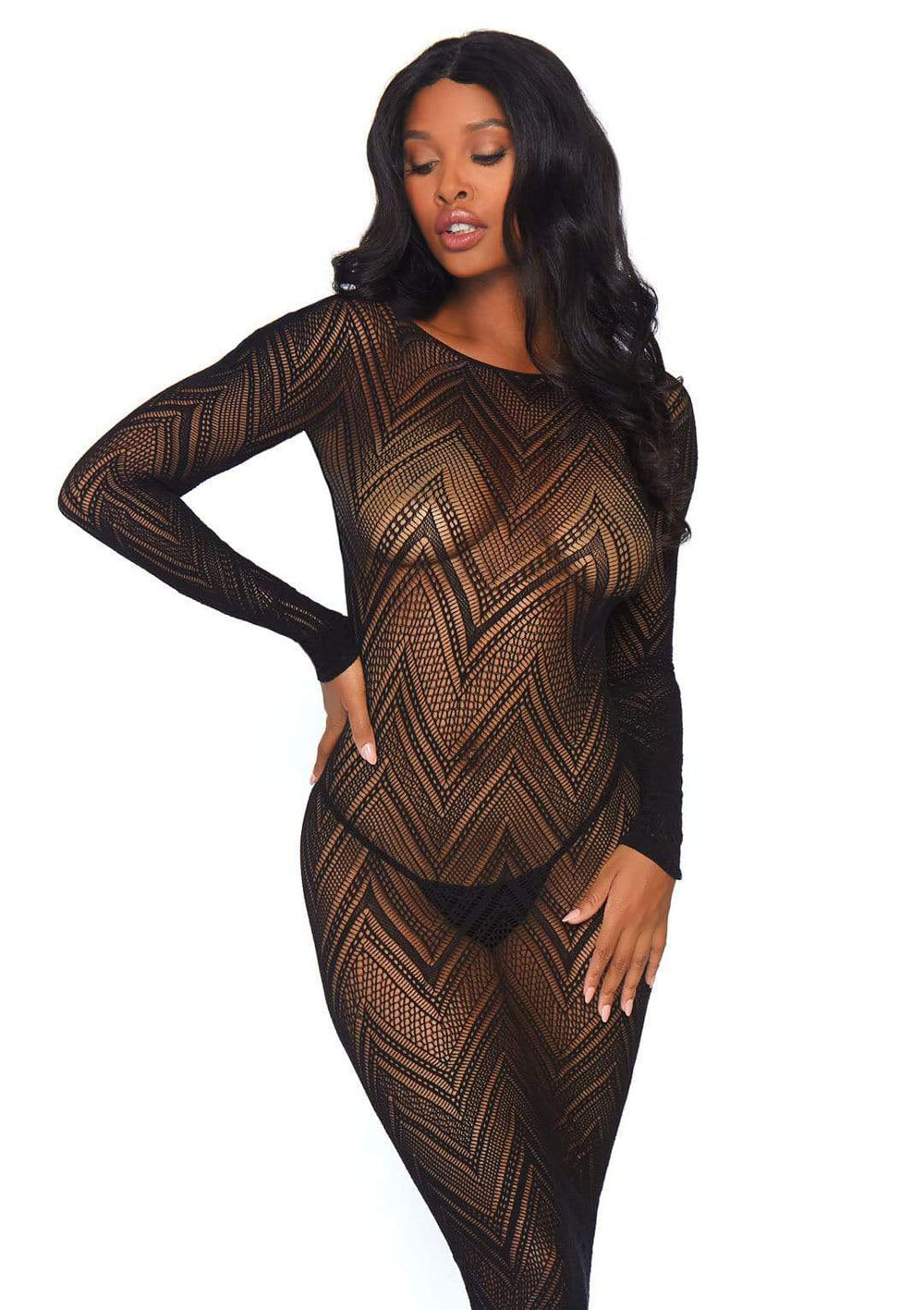 Fishnet Bodycon Dress - One Size - Black