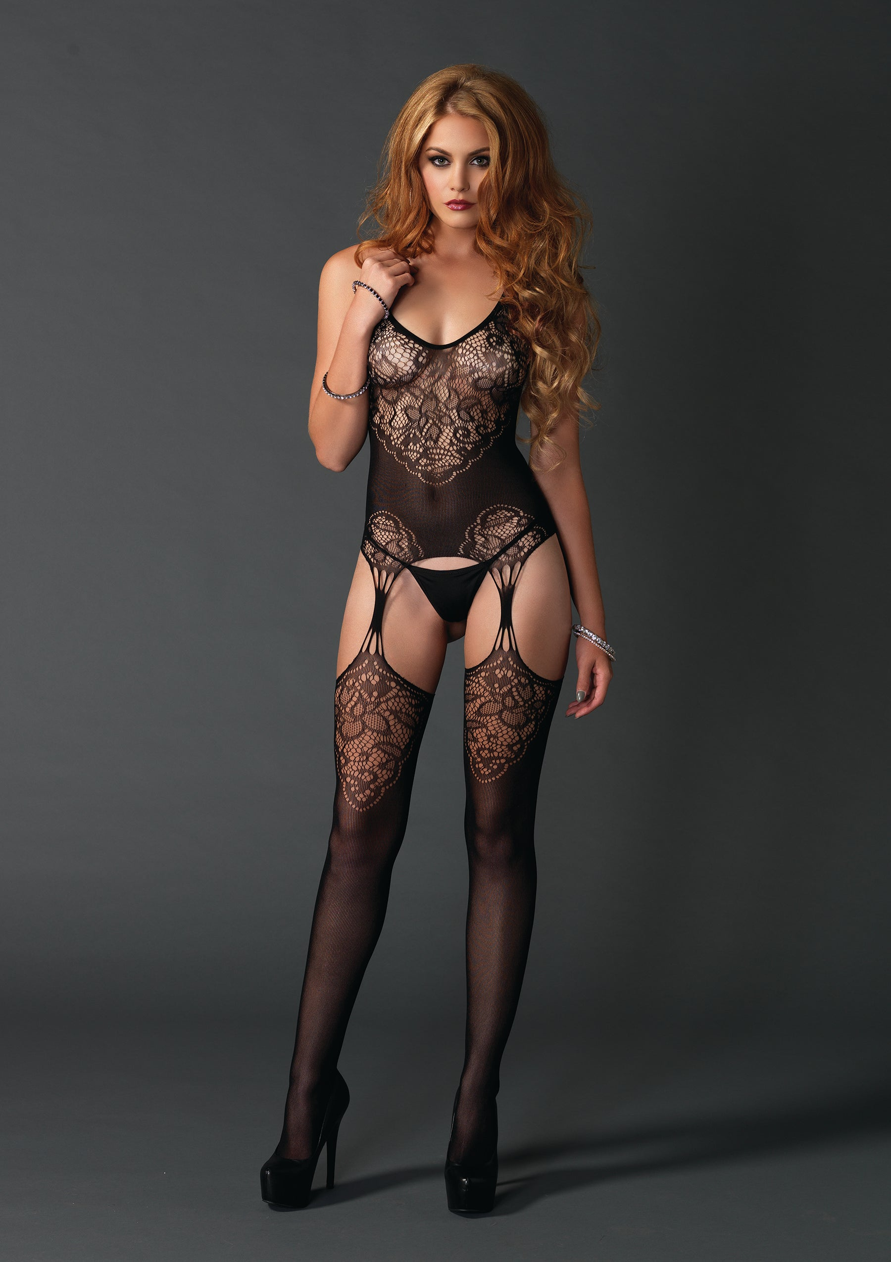 Lace Jacquard Suspender Bodystocking - One Size - Black