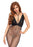 Net and Lace Backless Harness Halter Bodystocking - Black - One Size