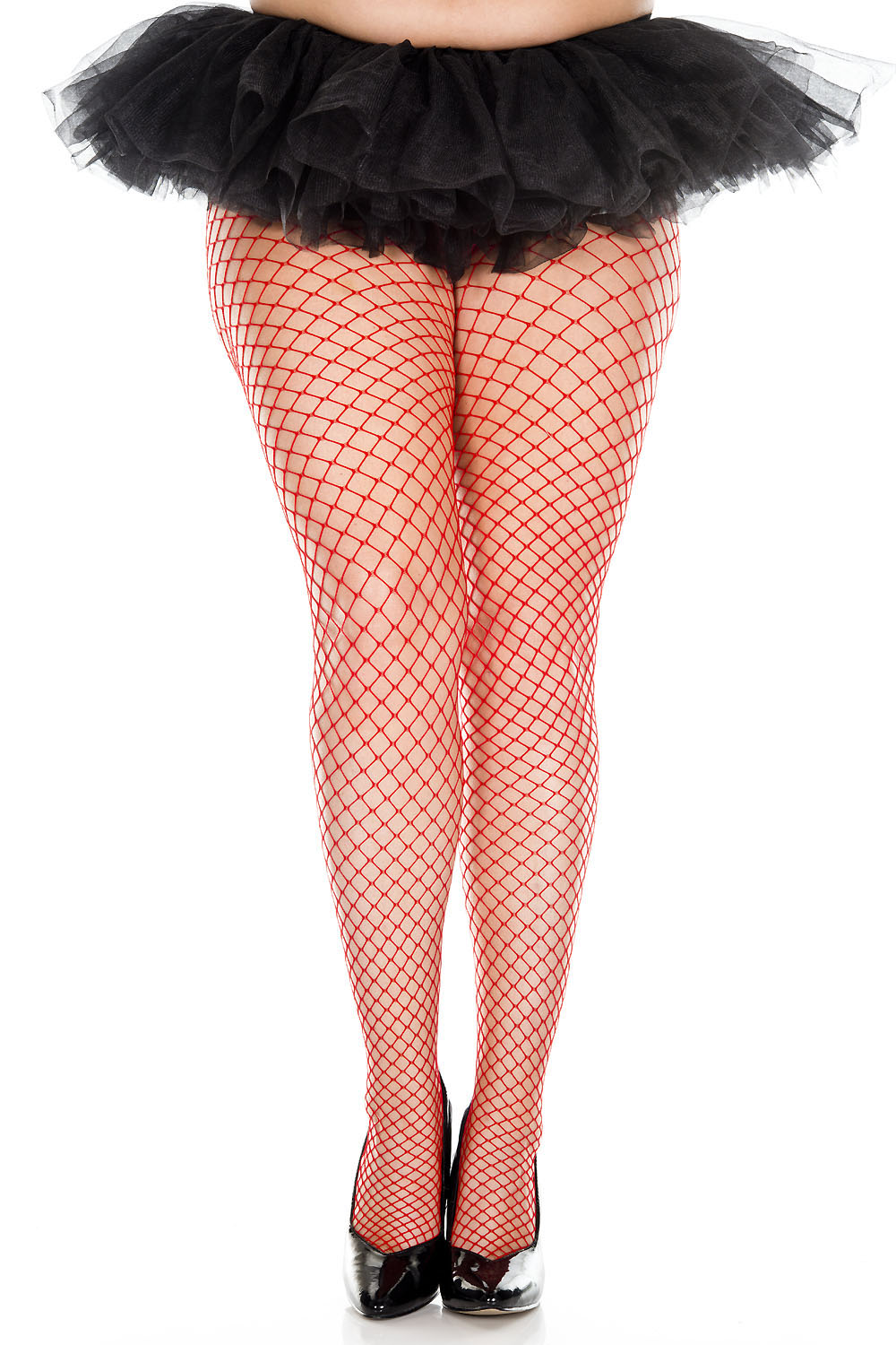 Mini Diamond Net Spandex Pantyhose - Queen Size - Red