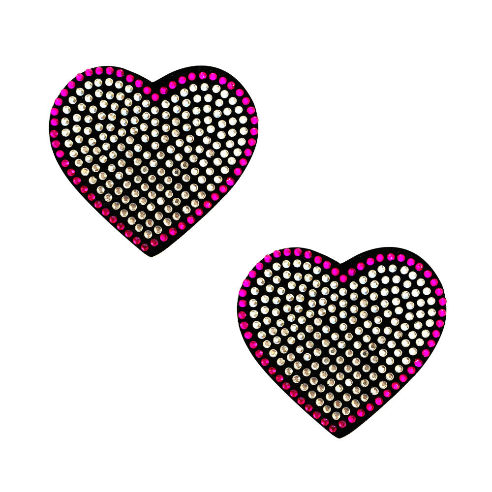 Heart 'N Soul Pink and Clear Iridescent Crystal Heart Reusable Silicone Nipztix