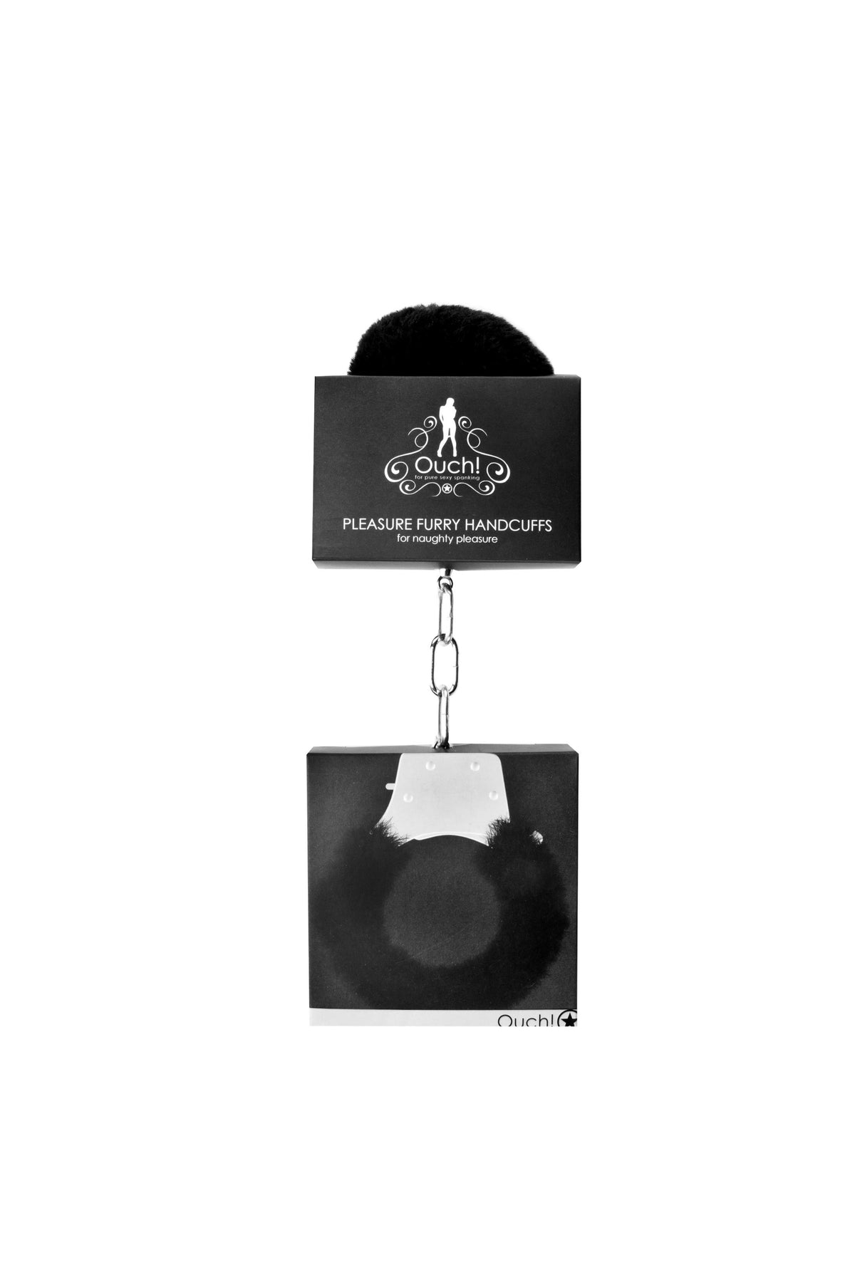 Pleasure Furry Handcuffs - Black