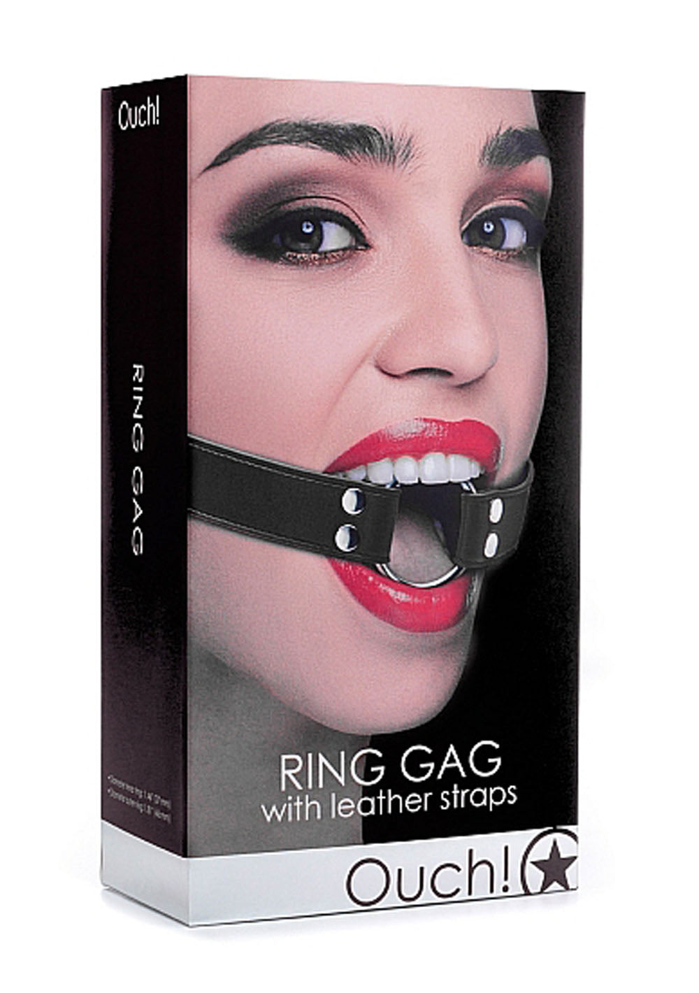 Ring Gag With Leather Straps - Black