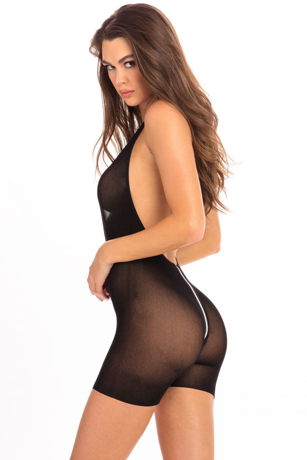 Hot Short Zip Bodysuit - Black - M-l