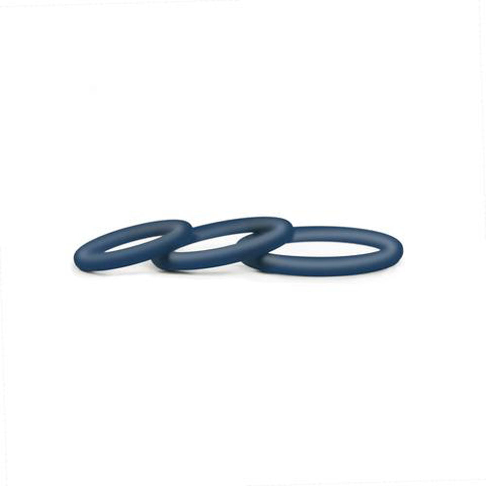 Hombre Snug-Fit Silicone Thin C-Rings - 3 Pack -  Navy