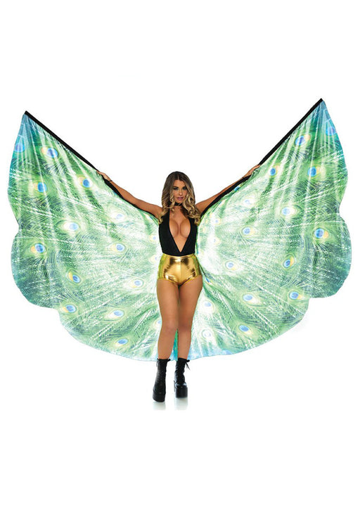 Peacock Feather Halter Wing Cape With Wrist Straps LA-A2786