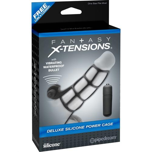 Fantasy X-Tensions Deluxe Silicone Power Cage  - Black