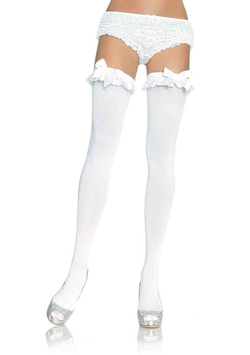Opaque Thigh Highs With Satin Ruffle Trim and Bow - One Size - White LA-6010W