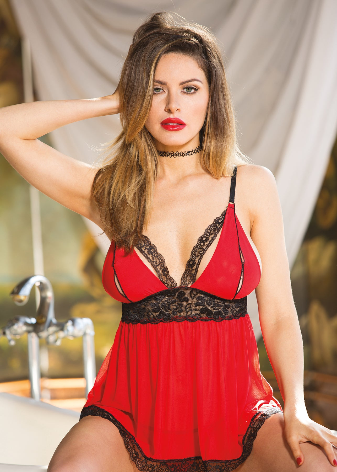 Stretch Knit & Stretch Lace Split Cup Baby Doll - One Size - Red & Black HOT-96623RB