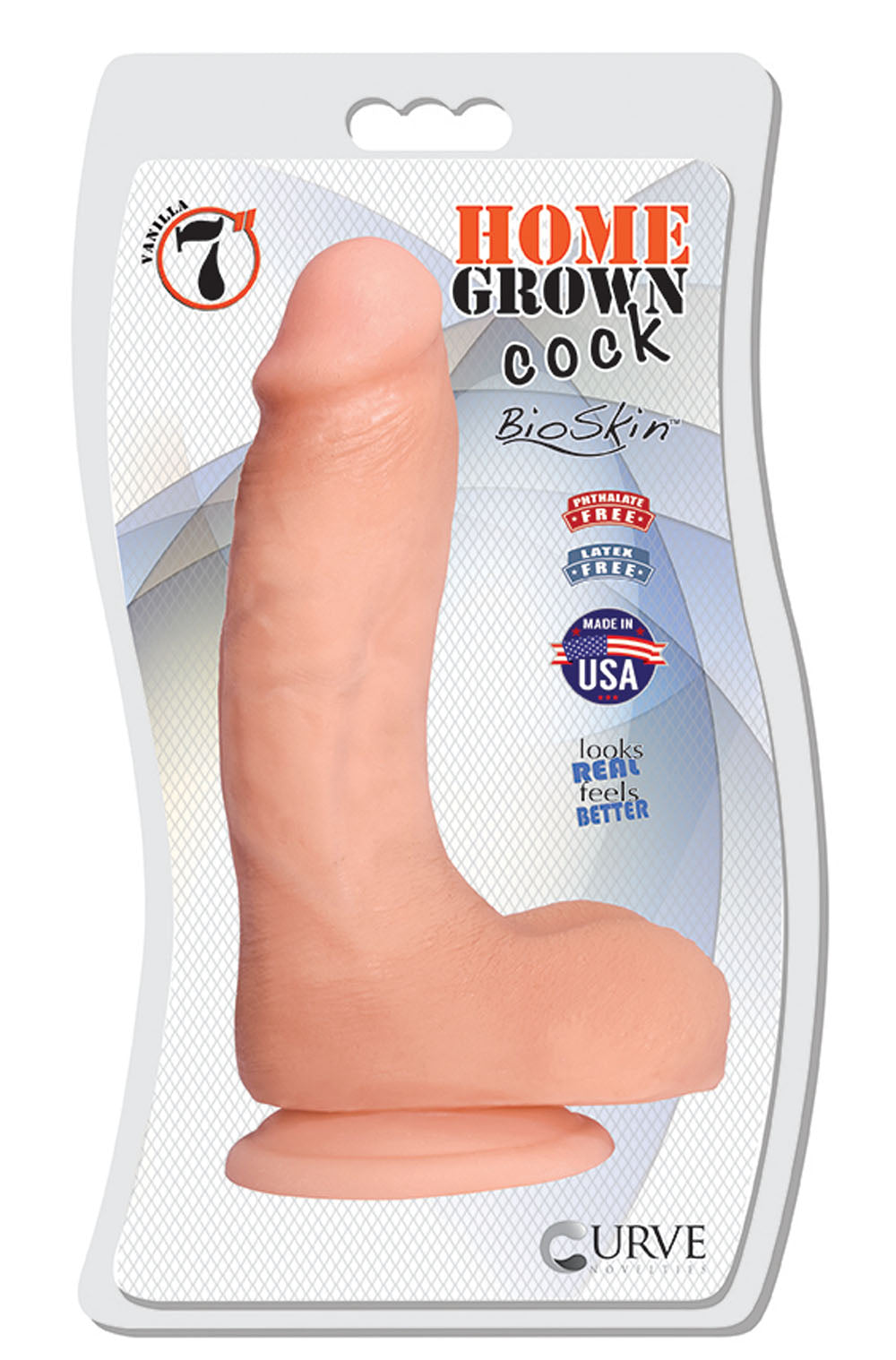 Realistic white skin toned cock and balls with suction cup base sex toy