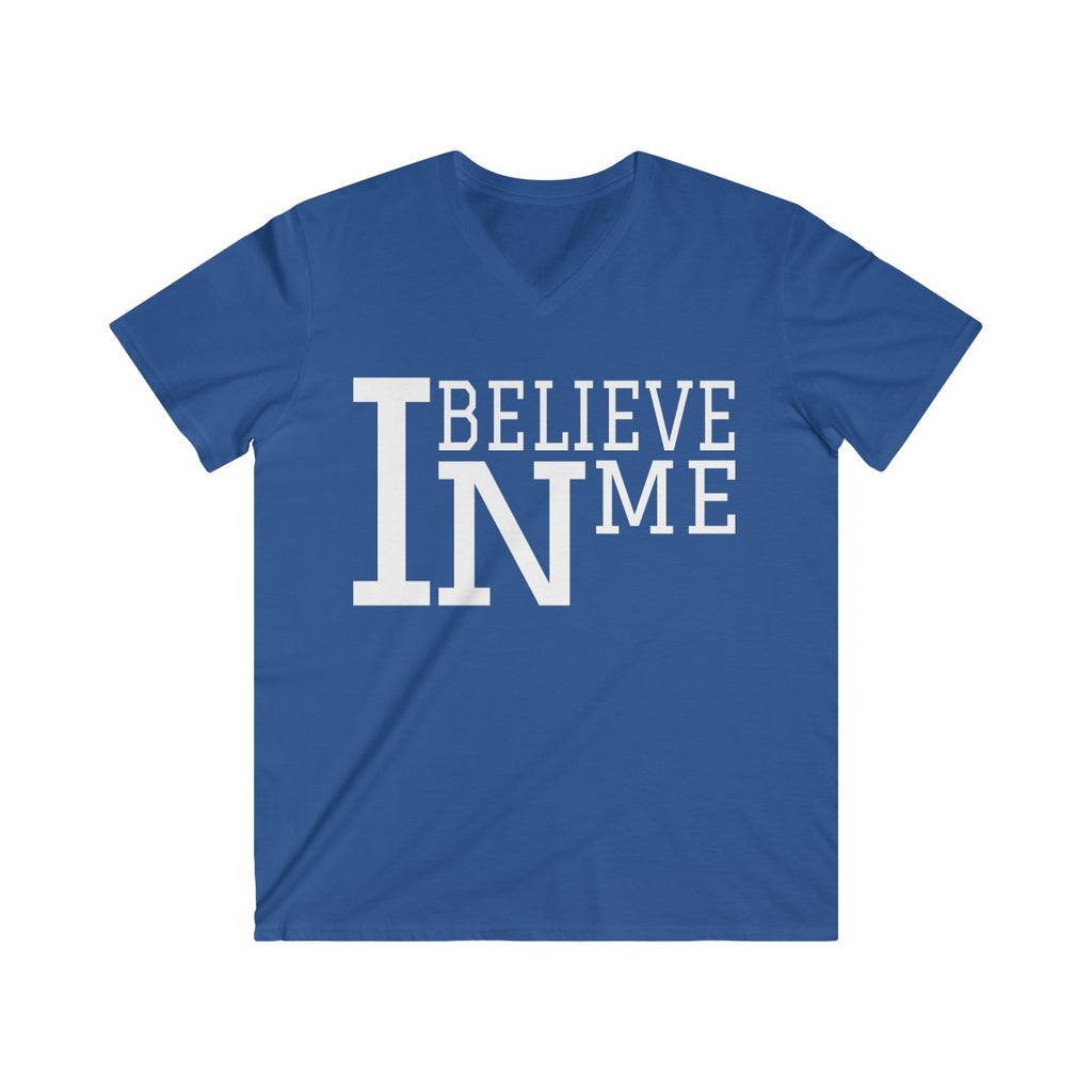 """I Believe In Me"" Men's Fitted V-Neck Short Sleeve Tee"
