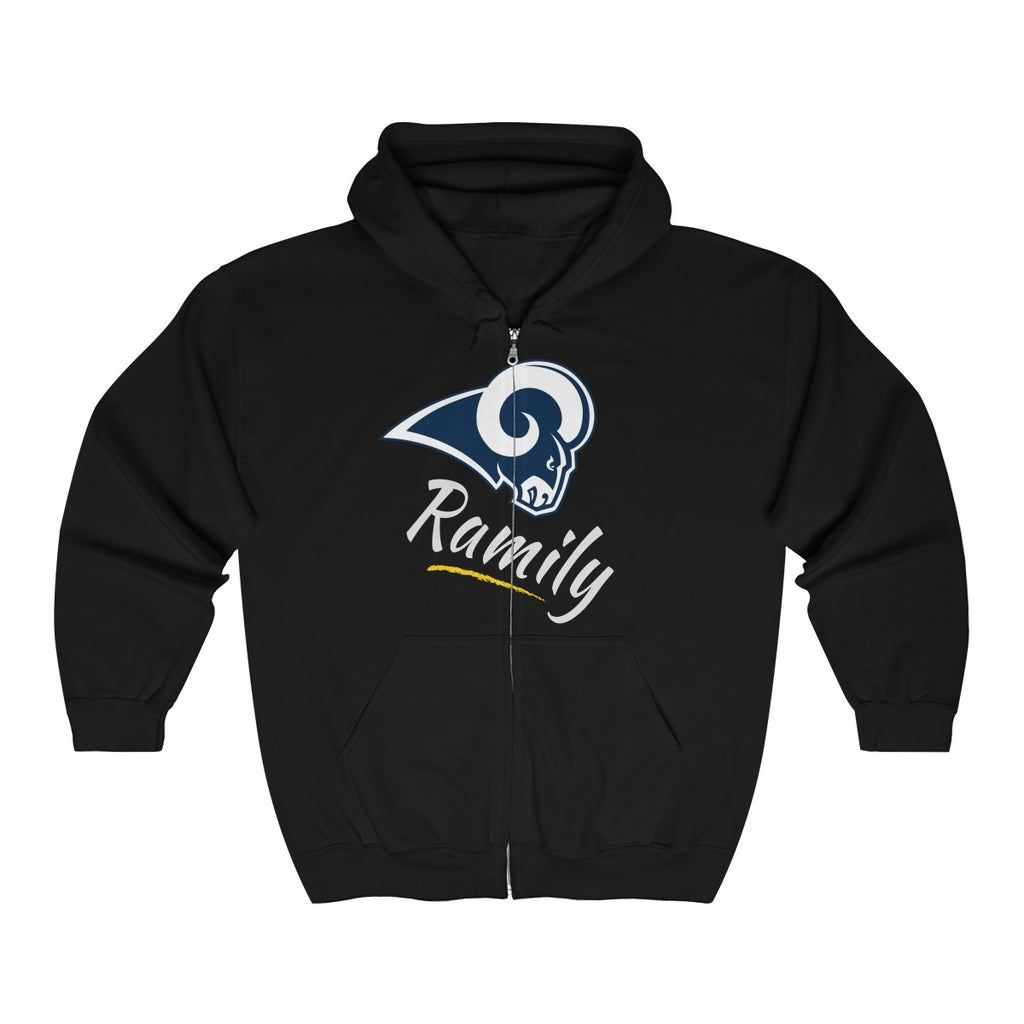 "LA Rams - ""Ramily"" Unisex Heavy Blend™ Full Zip Hooded Sweatshirt"