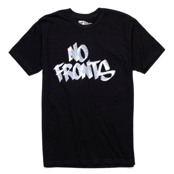 No Fronts limited-edition hand-lettered t-shirt.