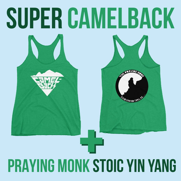 Super Camelback White Hot + Praying Monk Stoic Yin Yang on  Women's Racerback Tank