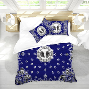 HRMI Blue Bandana Logo King Duvet Cover Set Official HellRazah Music Inc