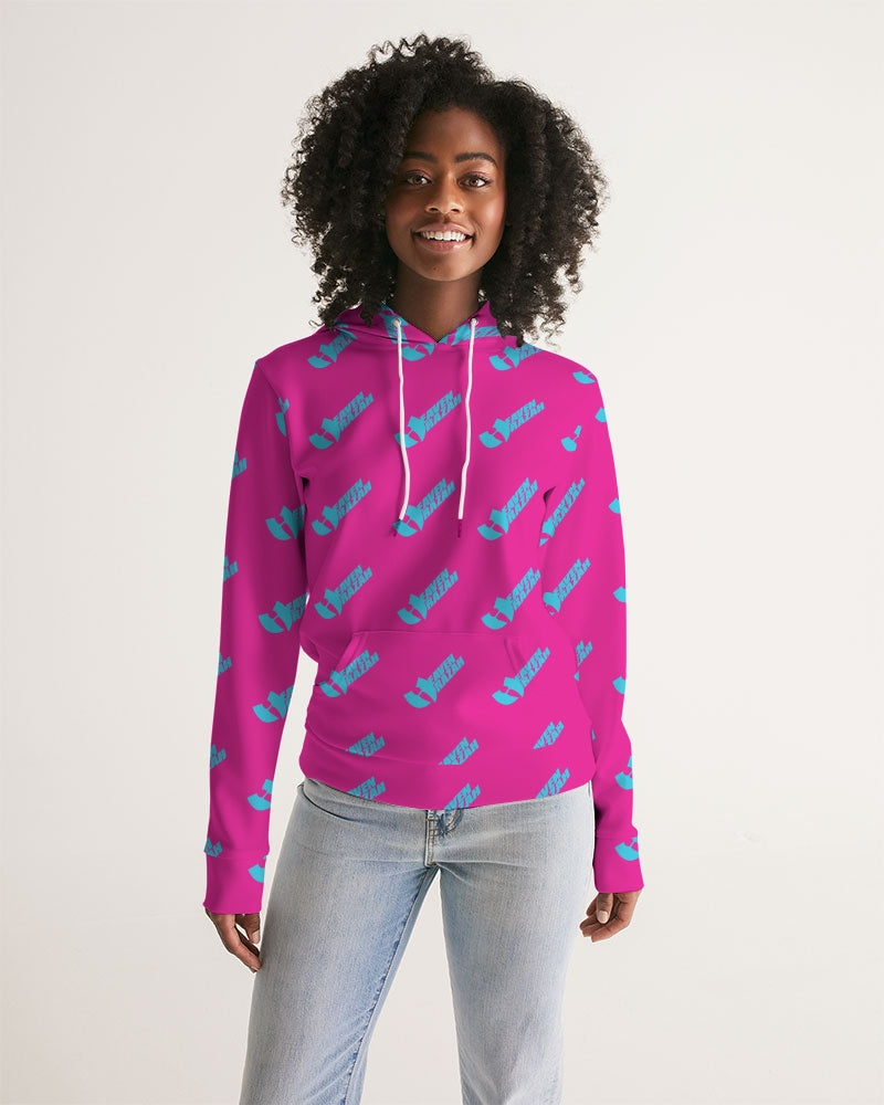 HeavenRazah Pink and Teal Patterned Logo Women's Hoodie