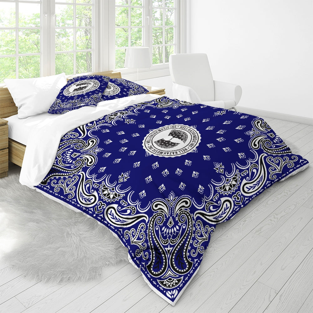 HRMI Blue Bandana Logo Queen Duvet Cover Set HellRazah Music Inc.