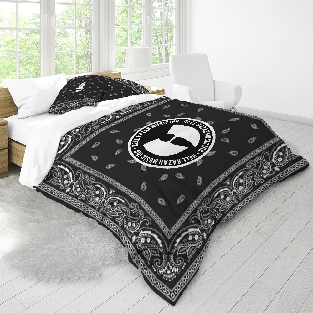 HRMI Black Bandana Logo Queen Duvet Cover Set HeavenRazah - HellRazah Music Inc