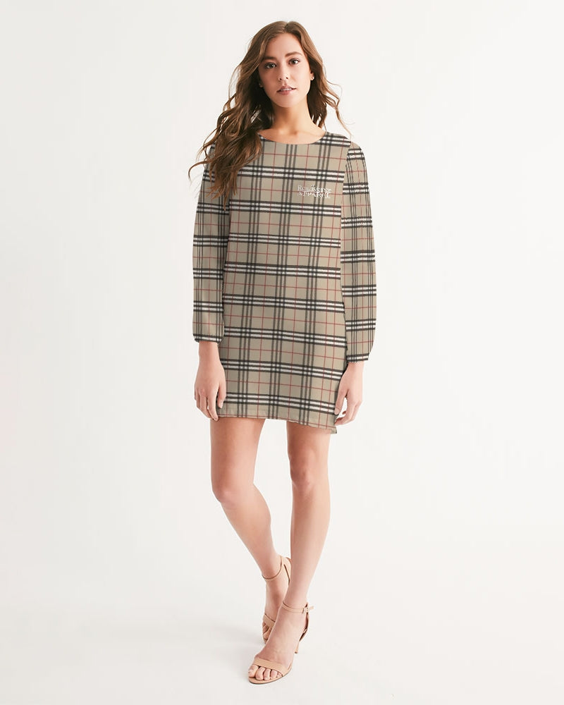 Renaissance Plaid Women's Long Sleeve Chiffon Dress