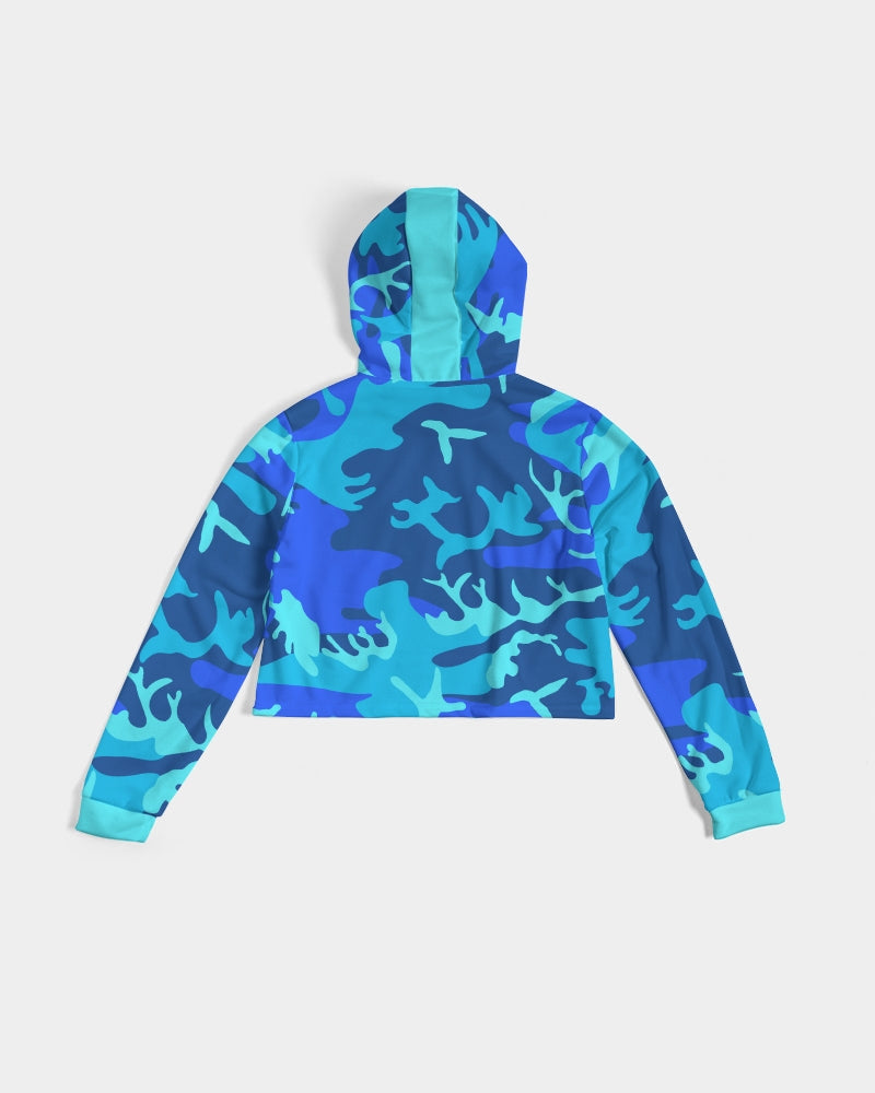 Grand Azul Camo Women's Cropped Hoodie
