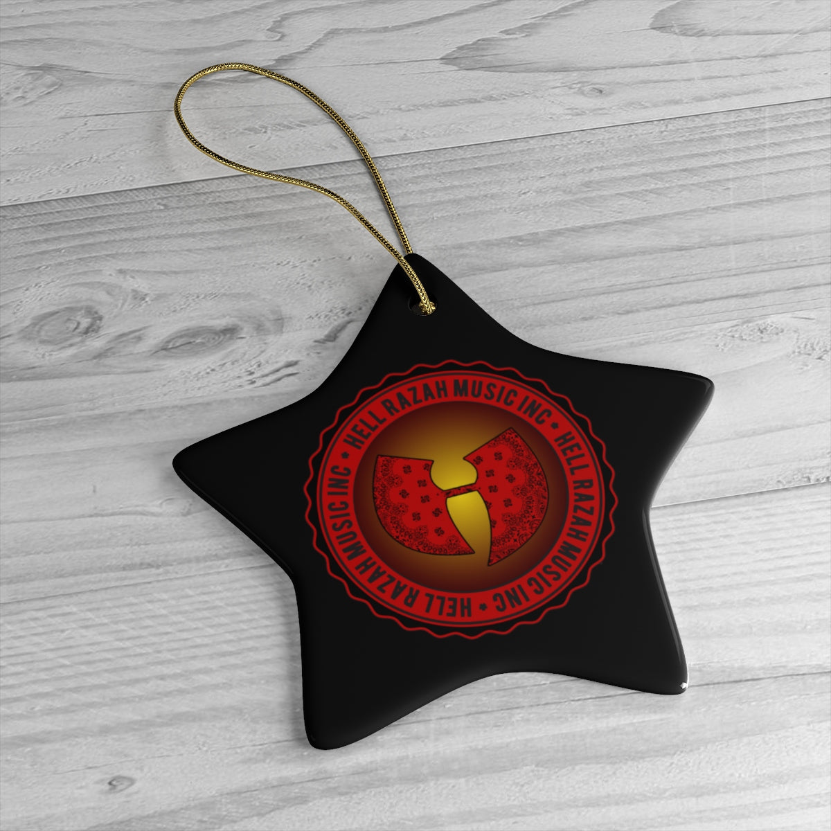 Limited Edition HellRazah Music Inc. Logo Ceramic Christmas Ornament