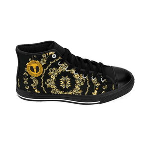 OFFICIAL  HELL RAZAH MUSIC INC.  BLACK 'N GOLD  FORT KNOX HEAVENCOPTERS V.II MEN'S DESIGNER HIGH-TOP SNEAKERS HEAVEN RAZAH SEASONAL MERCH