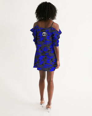 HRMI Logo Blue Camo Women's Open Shoulder A-Line Dress HellRazah Music Inc Renaissance Apparel - HeavenRazah
