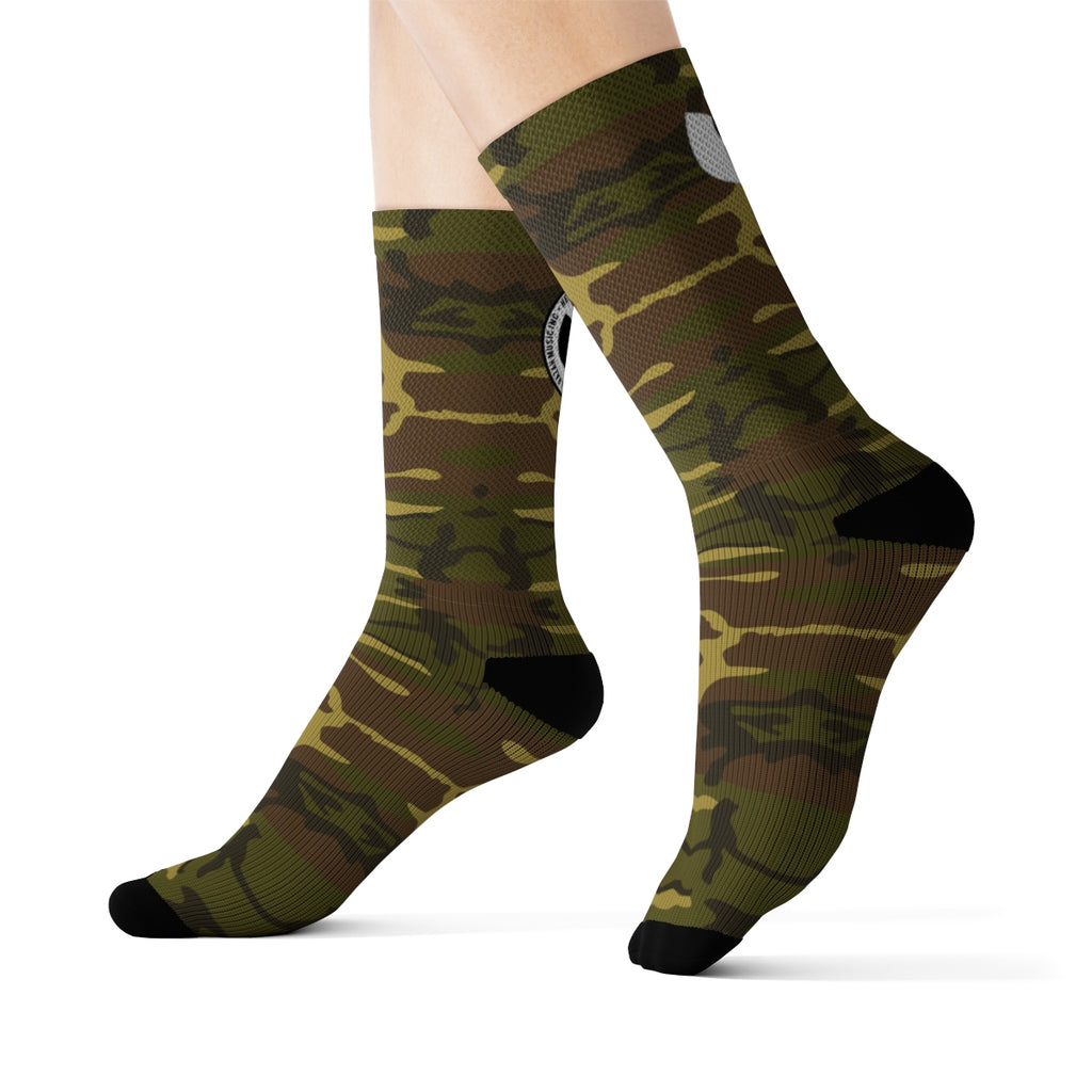 HRMI Army Camo Logo Designer Socks Official HeavenRazah Merch - Hell Razah Music Inc.