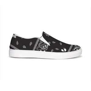 HRMI Black Bandana Logo Slip-On Canvas Shoes HeavenRazah - Official HellRazah Music Inc