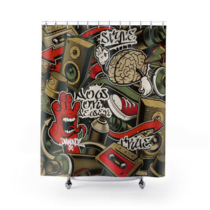 DiamondzOC Designer Old School Style Hip Hop Theme Shower Curtains