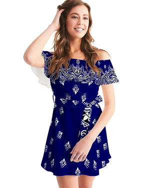 HeavenRazah Blue Bandana Official HellRazah Music Inc. Women's Designer Off-Shoulder Dress