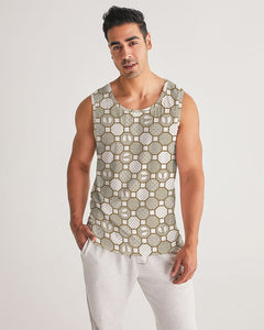 HRMI Cream Patterned Men's Sports Tank