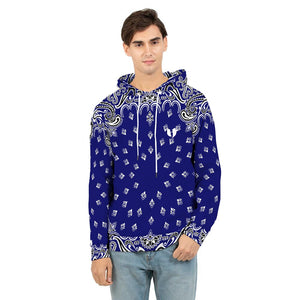 HeavenRazah Blue Bandana Logo Hooded Jacket Official HellRazah Music Inc. Men's Hoodie