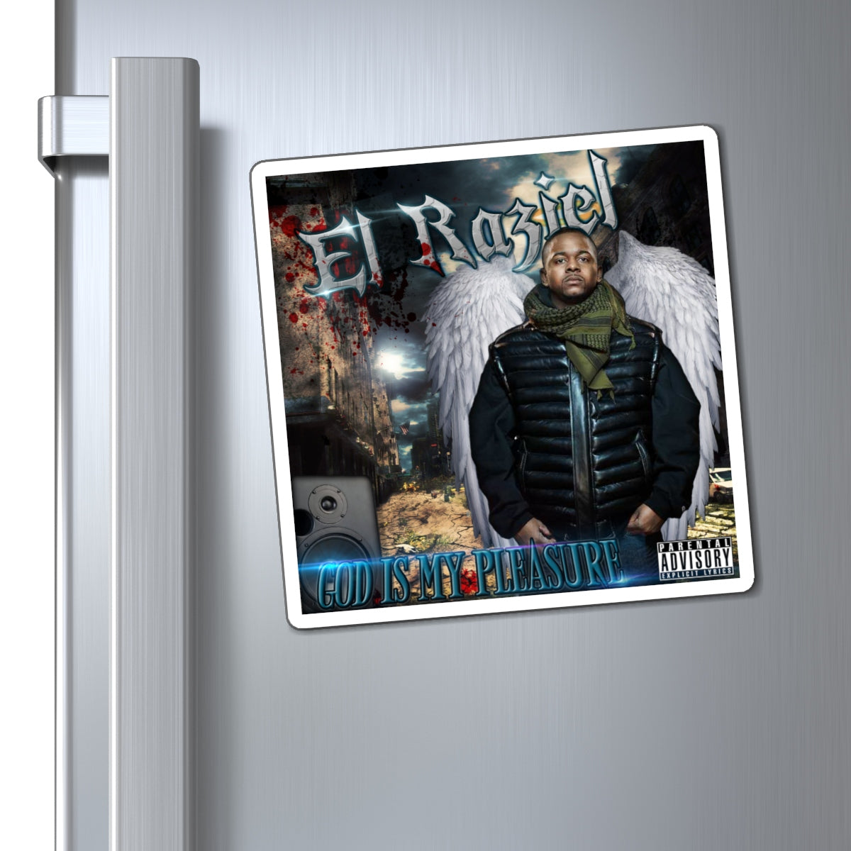 El Raziel God Is My Pleasure - HellRazah Music Inc. Limited Edition Collectible Magnet