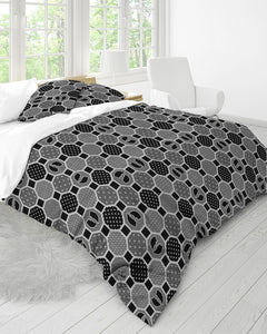 HRMI Gray Patterned King Duvet Cover Set