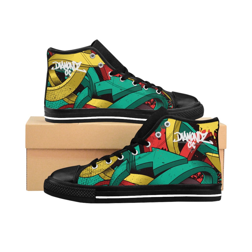 DiamondzOC Graffiti Arrows Designer Urban Men's High-top Sneakers