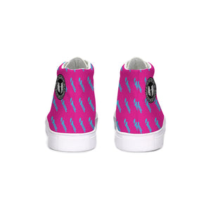 HeavenRazah Pink and Teal Patterned Logo Hightop Canvas Shoe