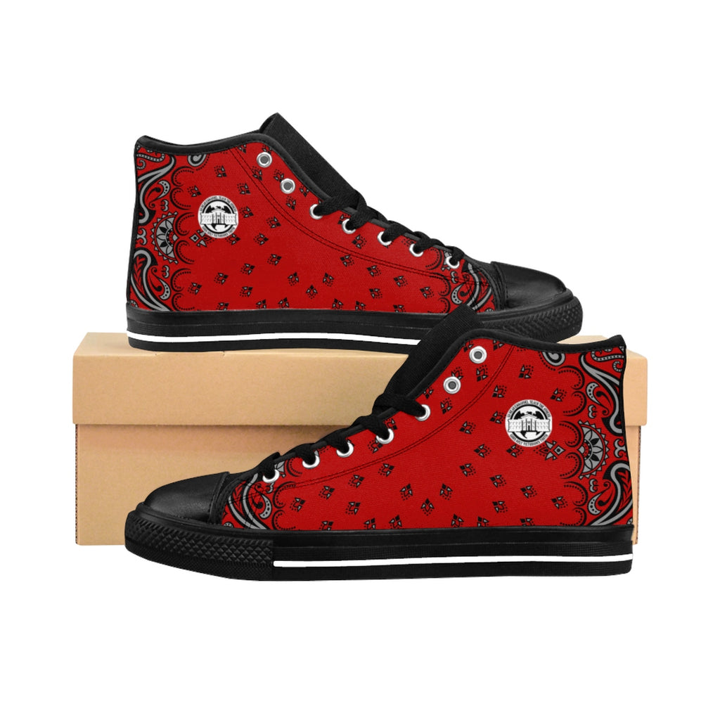 Ghetto Gov't Officialz Red Bandana Logo Designer Shoes Men's High-Top Sneakers Heaven Razah - Hell Razah