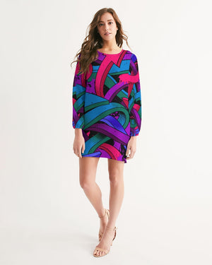 Arrow Graffiti Splat by DiamondzOC Women's Long Sleeve Chiffon Dress