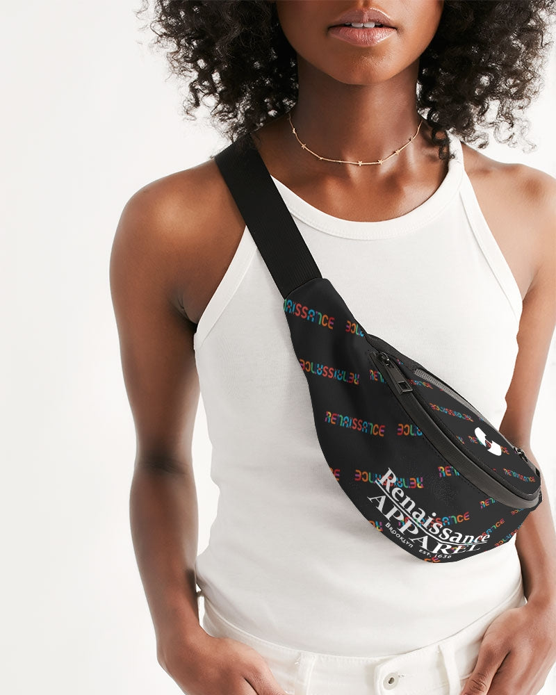 Renaissance Apparel Colorful Text Designer Crossbody Sling Bag