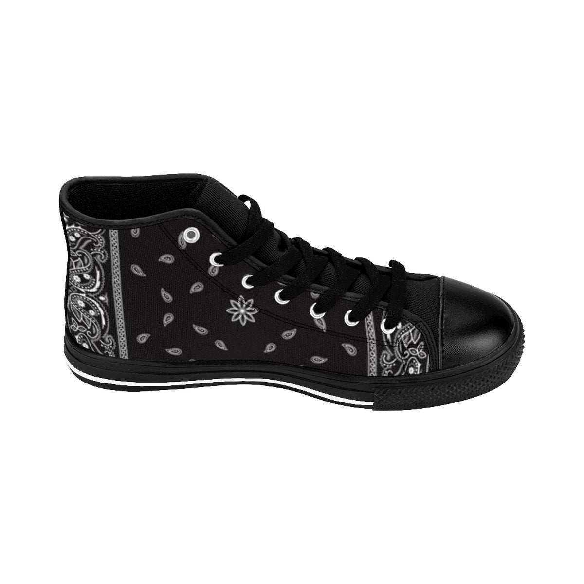 Ghetto Gov't Officialz Black Bandana Logo Men's Designer Shoes High-Top Sneakers