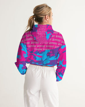 Limited Edition Grape Camouflage Women's Cropped Windbreaker