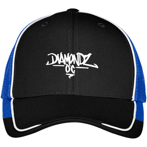 DiamondzOC Graffiti Logo Embroidered Colorblock Mesh Back Cap
