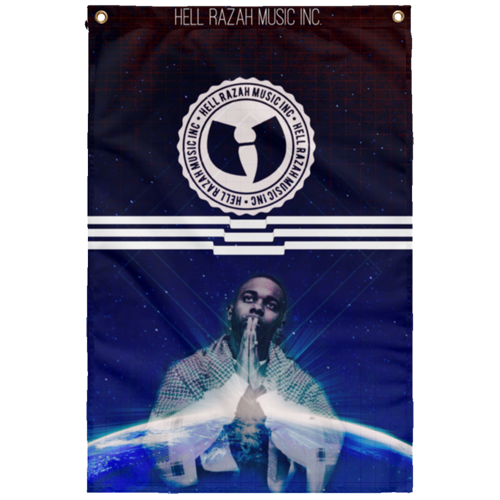HRMI - HellRazah Music Inc. - HeavenRazah Collectors Sublimated Wall Flag Design 1 by Ronny Dee