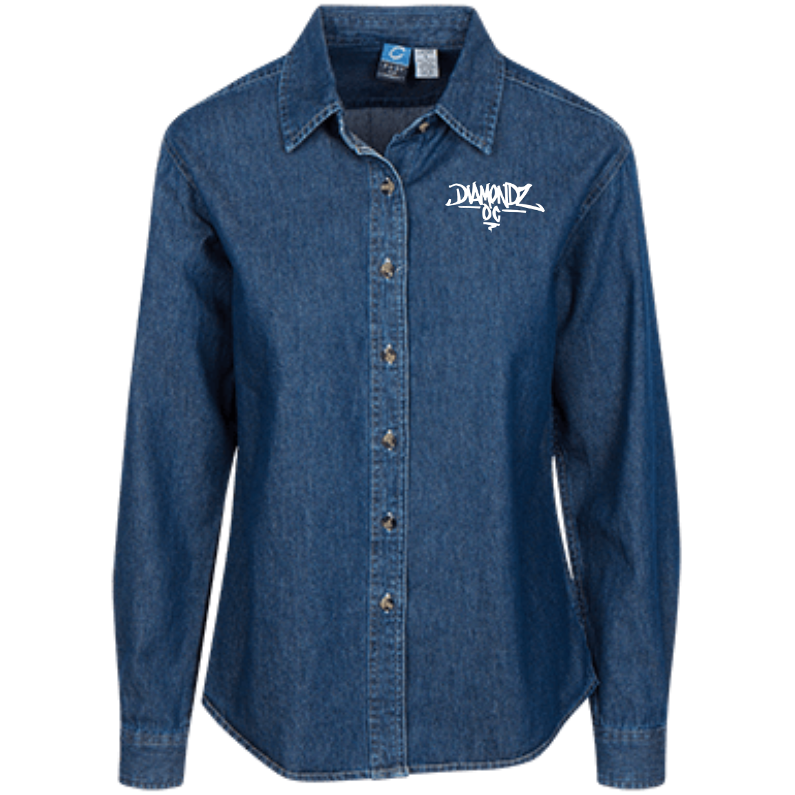 DOC iHustle365 Logo Embroidered Women's LS Denim Shirt