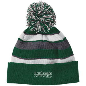 Renaissance Apparel Signature Embroidered Holloway Striped Beanie with Pom