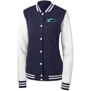Diamond Klub Empire Turquoise Logo Designer Women's Fleece Letterman Jacket