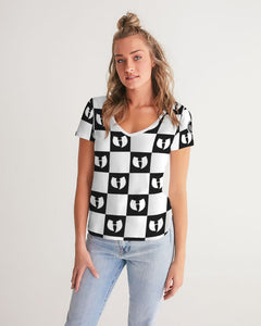 Renaissance Apparel Razah Chessboard Women's V-Neck Tee