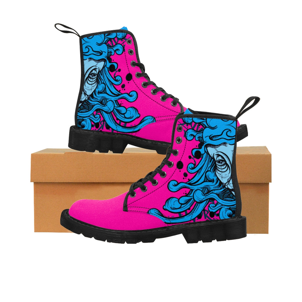 HRMI Pink Hydra Designer Doc Martin Style Women's Canvas Boots Limited Edition HellRazah Music Inc. Kicks